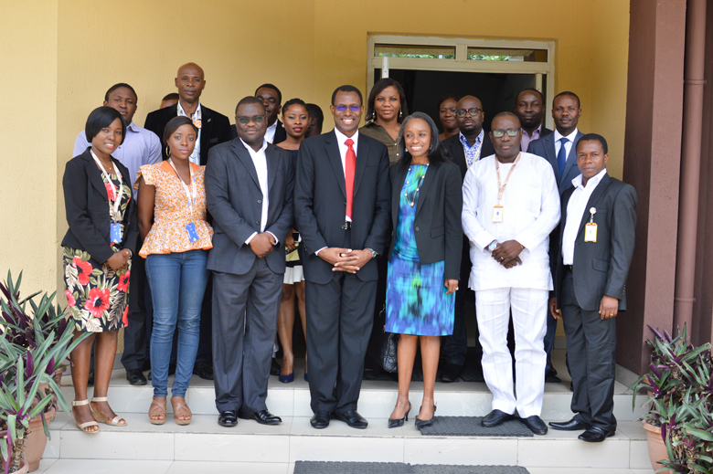 Group Photo- Minister of Communication Technology, Mrs Omobola Johnson (3rd from right), GCEO CNSSL Group, Engr. Gbenga Adebayo (centre) with management and sta of CNSSL Group