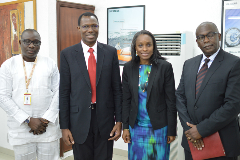 (L-R) General Manager CNSSL - Mr Deboh Ajiga, CNSSL GCEO, Engr. Gbenga Adebayo, Minister of Communication Technology - Mrs Omobola Johnson and the Special Adviser to the Minister on Local Content - Mr. Seyi Onabanjo